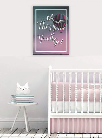 Baby Room Decor Wall Art: The Places You'll Go (Wood Frame Ready To Hang)