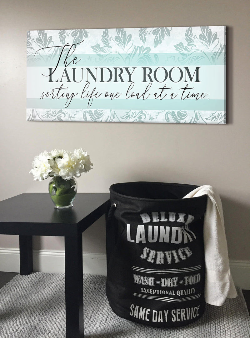 Laundry Room Wall Art: Sorting life one load at a time V2 (Wood Frame Ready To Hang)