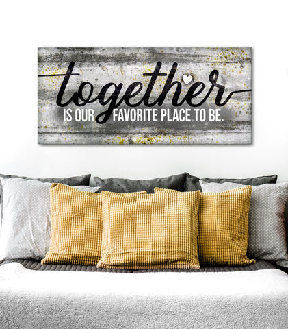 Couples Wall Art: Together is our fav place to be (Wood Frame Ready To Hang)