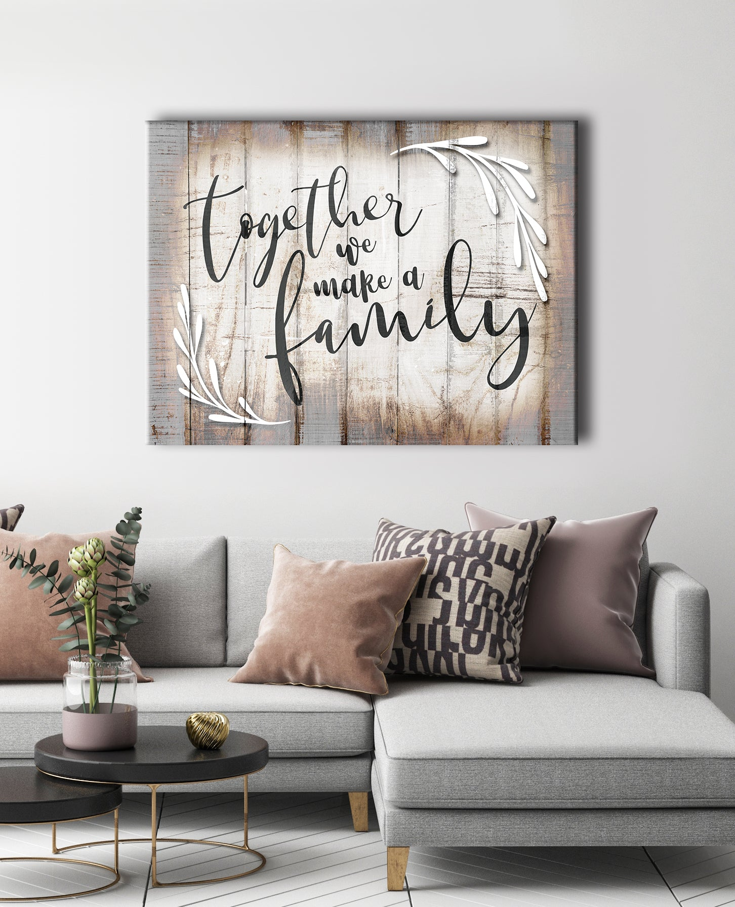 Family Wall Art: Together We Make A Family (Wood Frame Ready To Hang)