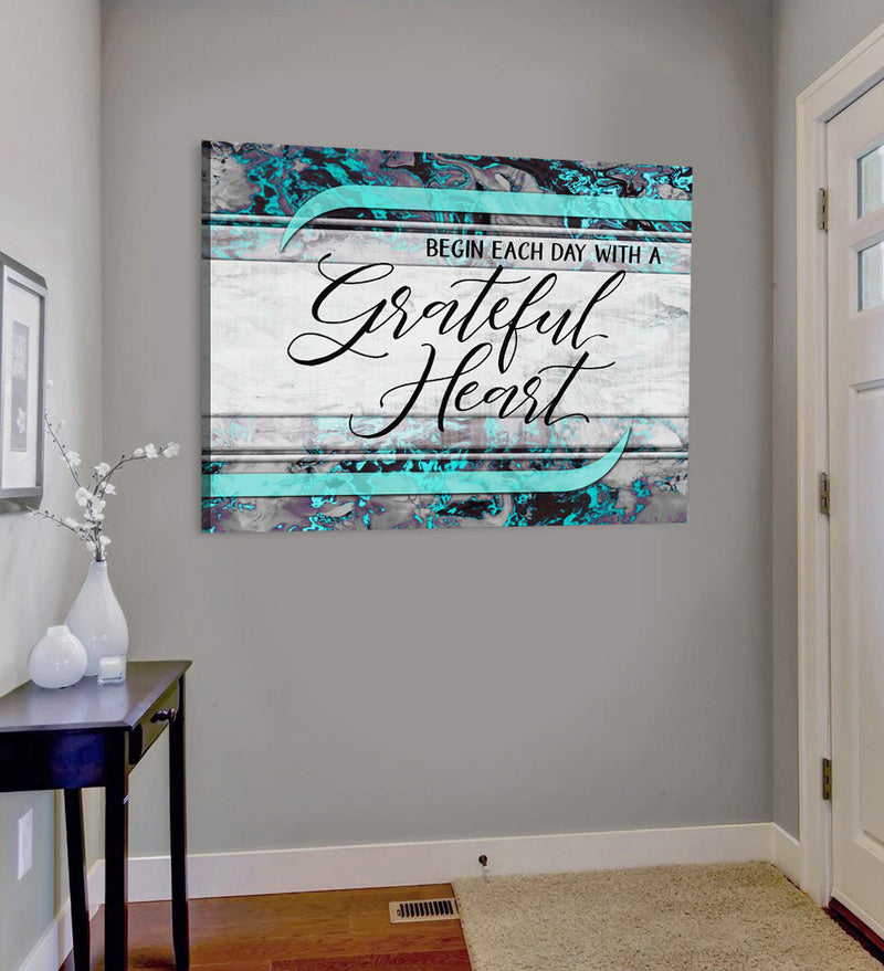 Christian Wall Art: Begin Each Day With a Grateful Heart V5 (Wood Frame Ready To Hang)