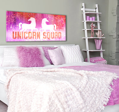 Bedroom Wall Art: Unicorn Squad (Wood Frame Ready To Hang)