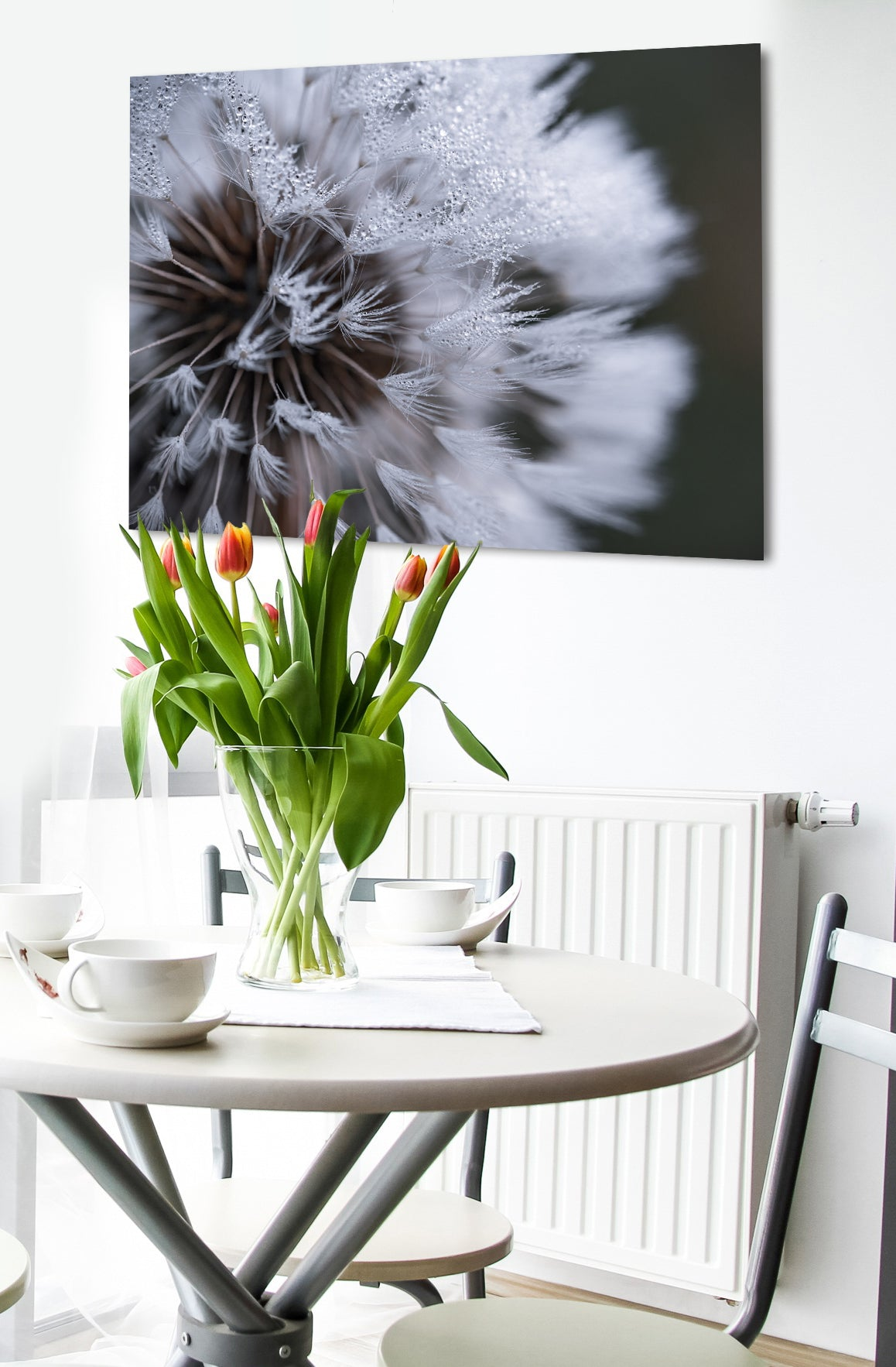 Nature Wall Art: Upclose White Dandelion Flower (Wood Frame Ready To Hang)