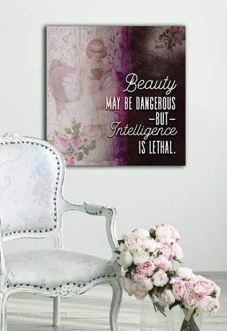 Powerful Women Wall Art: Vintage Beauty May Be Dangerous (Wood Frame Ready To Hang)