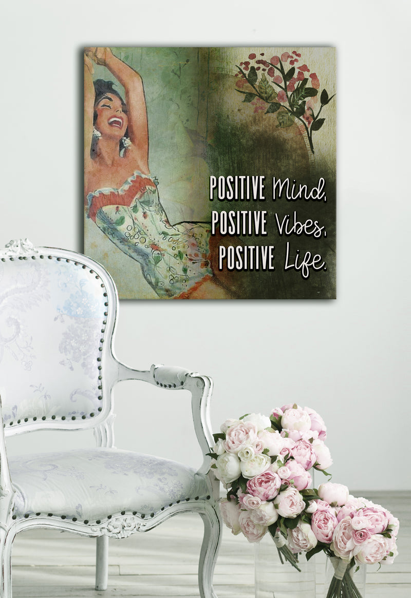 Powerful Women Wall Art: Vintage Positive Mind (Wood Frame Ready To Hang