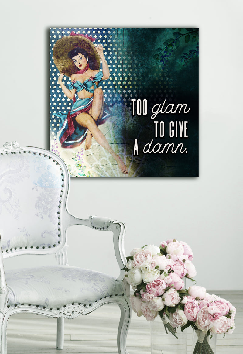 Powerful Women Wall Art: Vintage Too Glam (Wood Frame Ready To Hang)