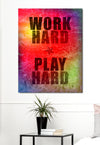 Business Wall Art:  Work Hard Play Hard  (Wood Frame Ready To Hang)