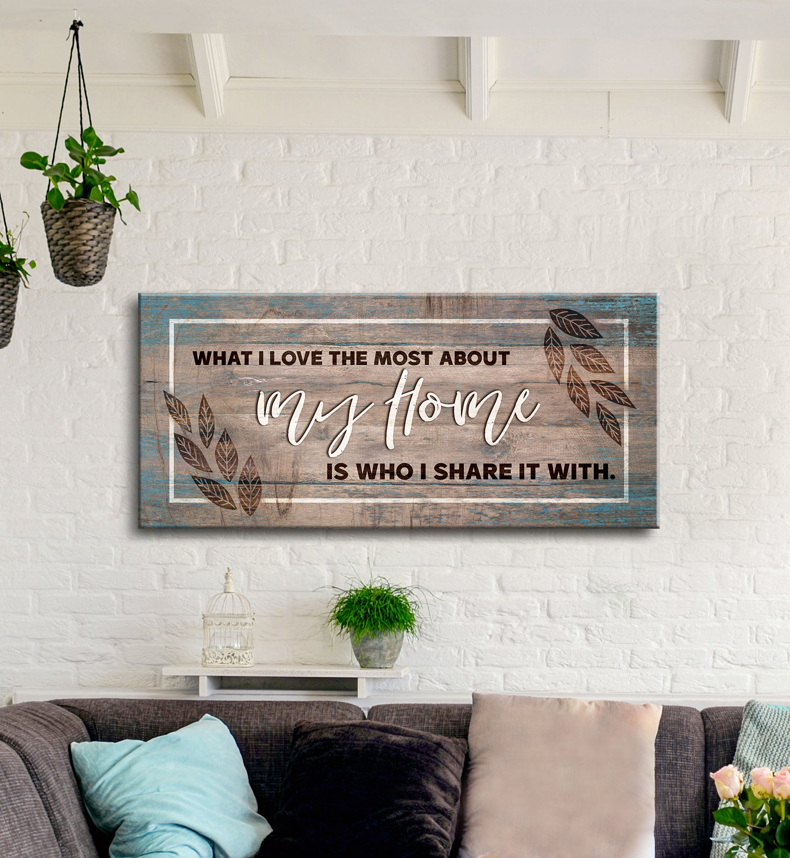 Home Wall Art: What i love the most about my home V2 (Wood Frame Ready To Hang)