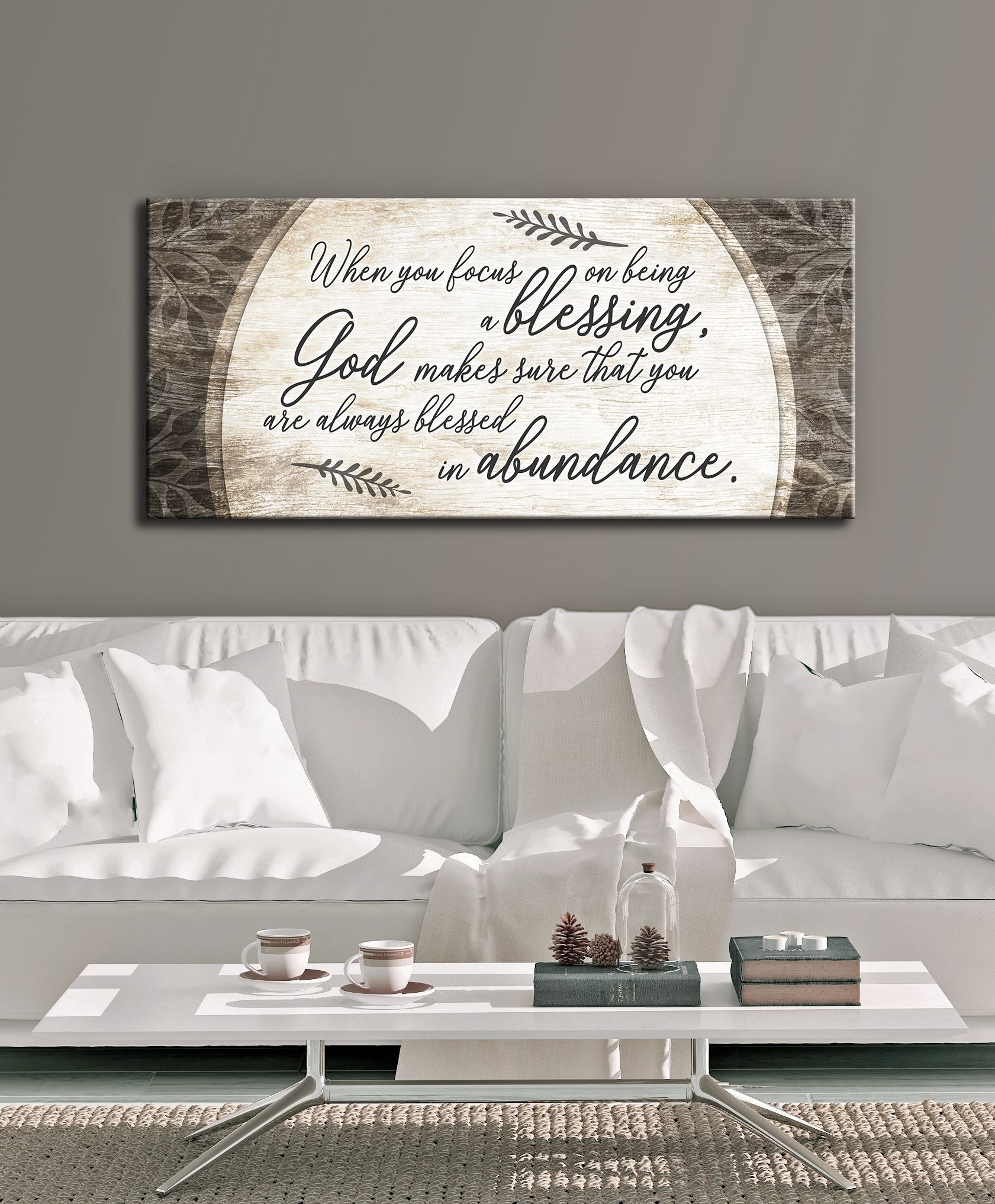 Christian Wall Art: When You Focus On Being A Blessing (Wood Frame Ready To Hang)