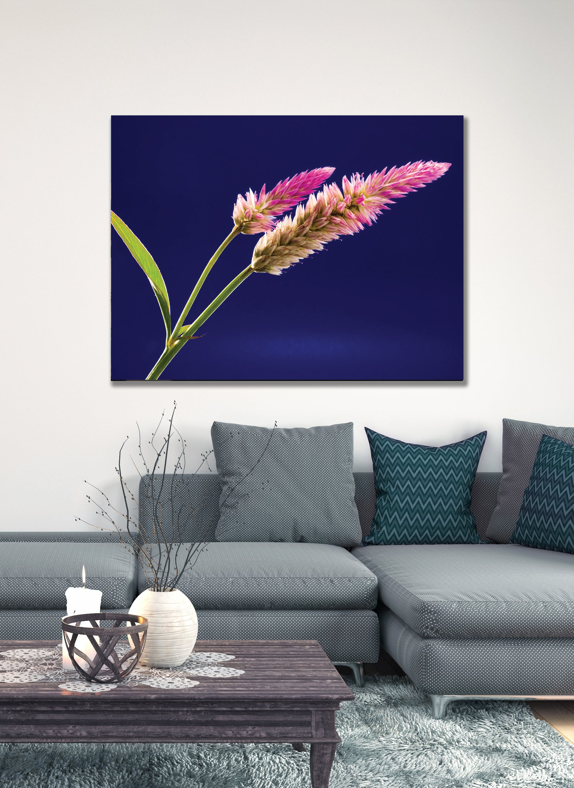 Flower Wall Art: White and Purple Clustered Elongated Plant (Wood Frame Ready To Hang)