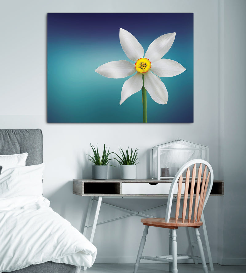 Flower Wall Art: White and Yellow Flower With Green Stems (Wood Frame Ready To Hang)