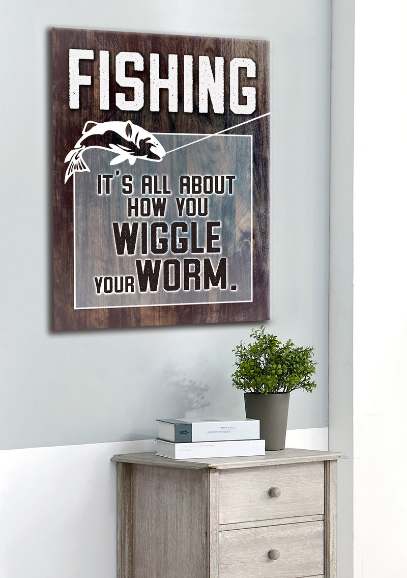 Fisherman Art: Wiggle your worm (Wood Frame Ready To Hang)