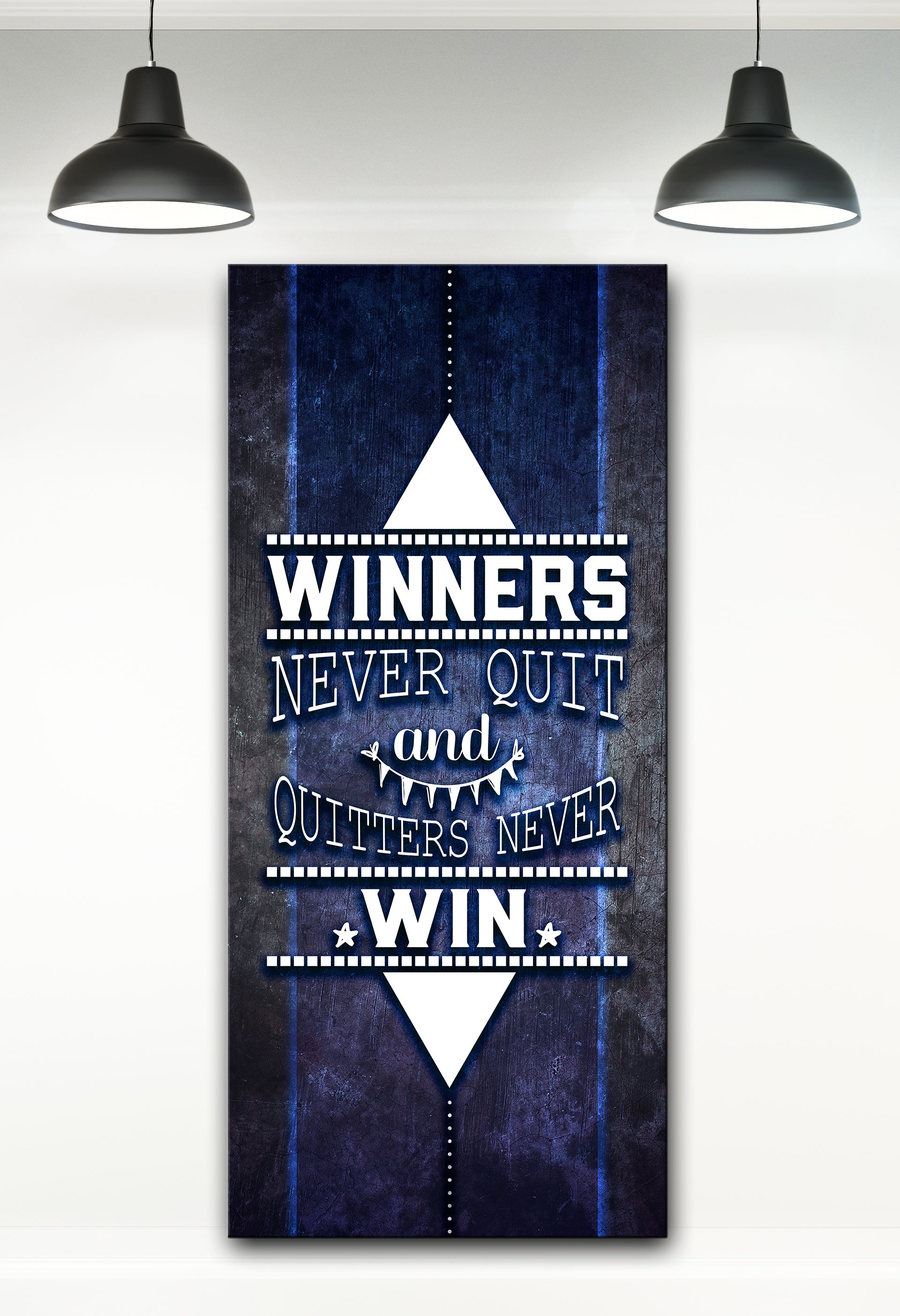 Fitness Wall Art: Winners Never Quit  (Wood Frame Ready To Hang)
