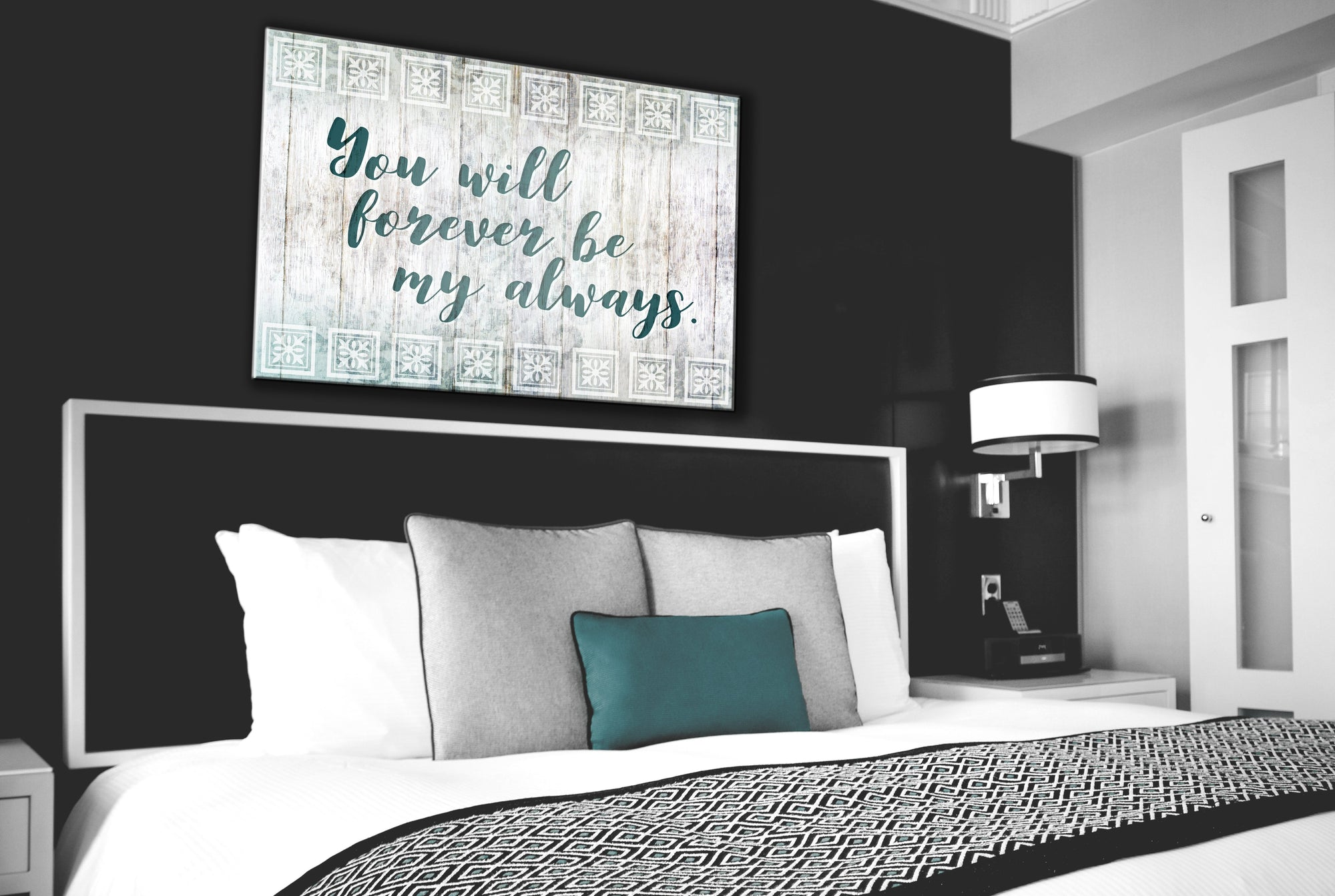 Bedroom Wall Art: Forever be my Always (Wood Frame Ready To Hang)