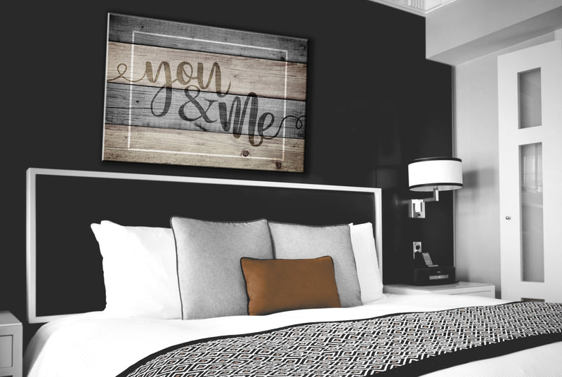 Bedroom Wall Art: You & Me Wall Art (Wood Frame Ready To Hang)