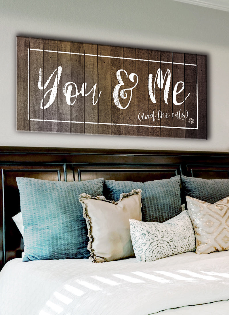 Pet Wall Art: You Me & The Cats (Wood Frame Ready To Hang)