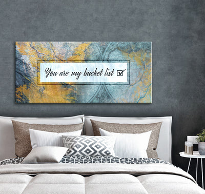 Bedroom Wall Art: You Are My Bucket List (Wood Frame Ready To Hang)