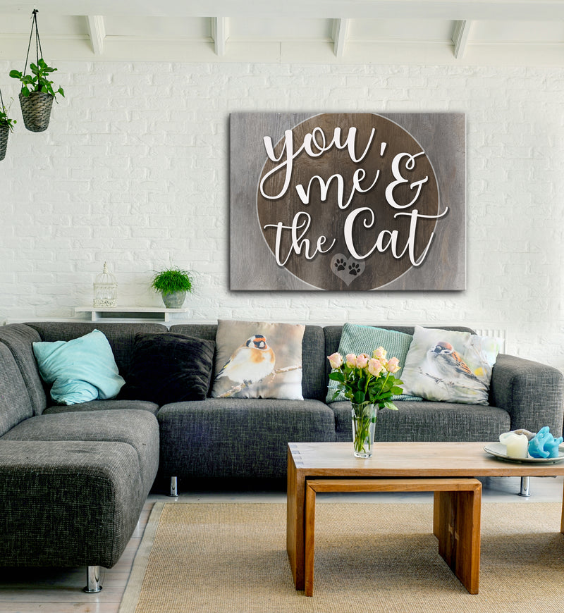 Pet Wall Art: You me and the Cat (Wood Frame Ready To Hang)