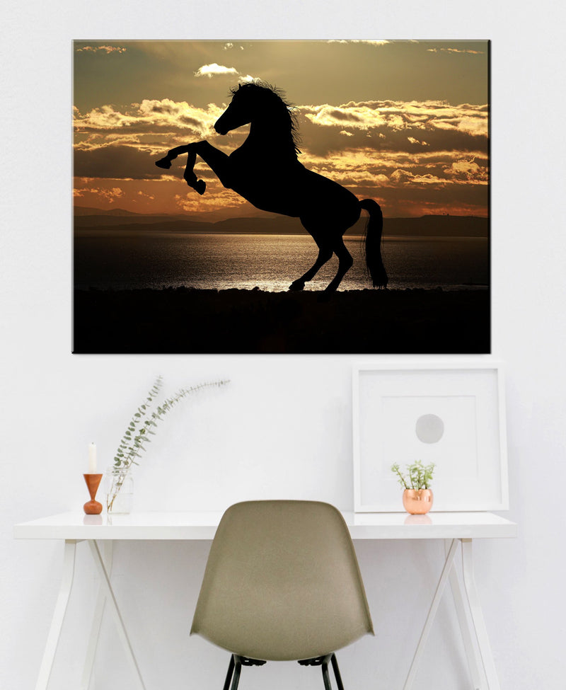 Farm Wall Art: Horse Silhouette (Wood Frame Ready To Hang)