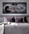 Skull Wall Art: A True Love Story Never Ends (Wood Frame Ready To Hang)