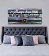 Police Officer Wall Art: Always Kiss Your Police Officer Goodnight (Wood Frame Ready To Hang)