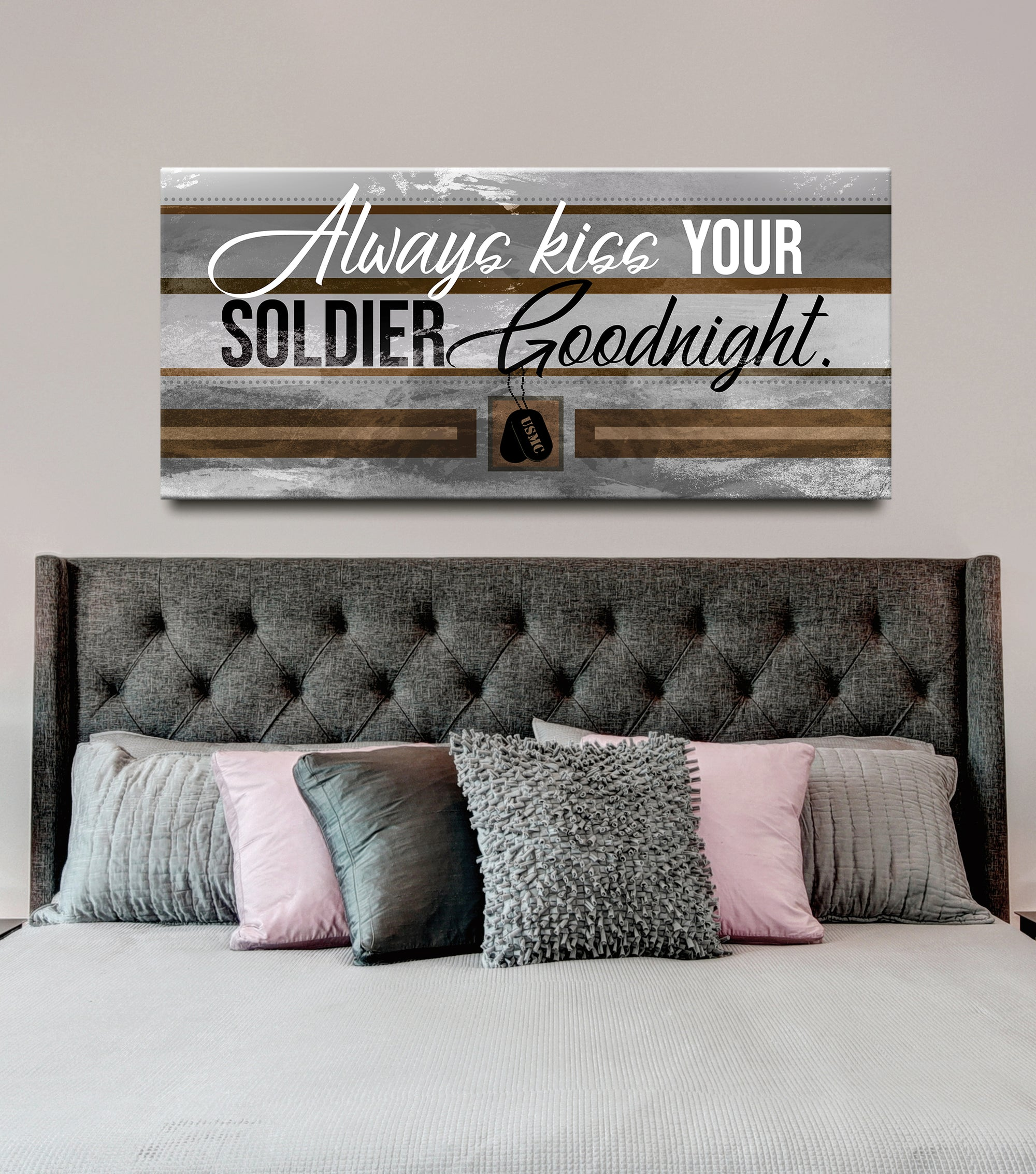 Soldier Wall Art: Always Kiss Your USMarineC Goodnight (Wood Frame Ready To Hang)
