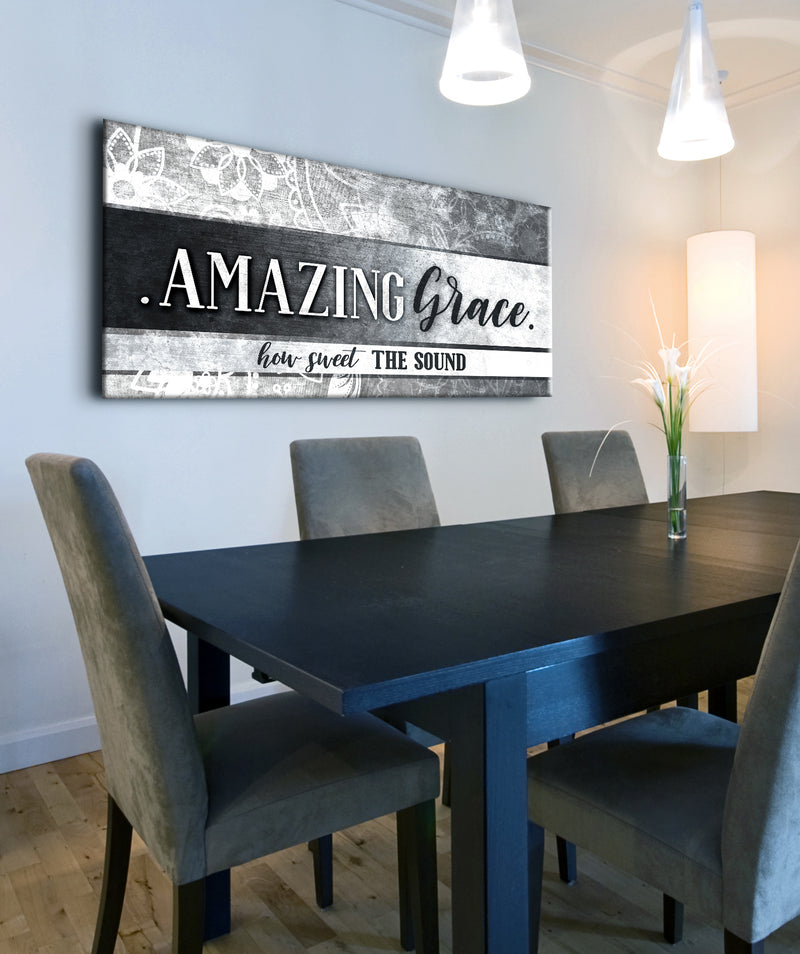 Christian Wall Art: Amazing Grace How Sweet The Sound (Wood Frame Ready To Hang)