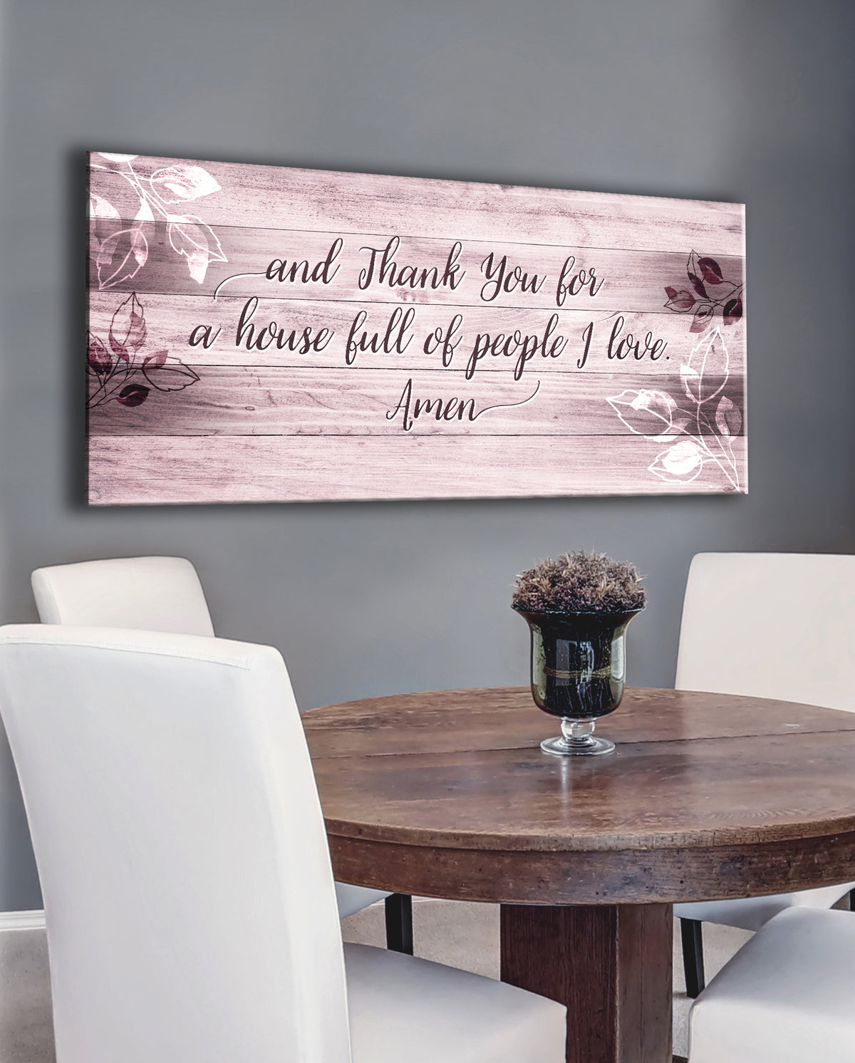 wood sign and thank you for a house full of people i love amen