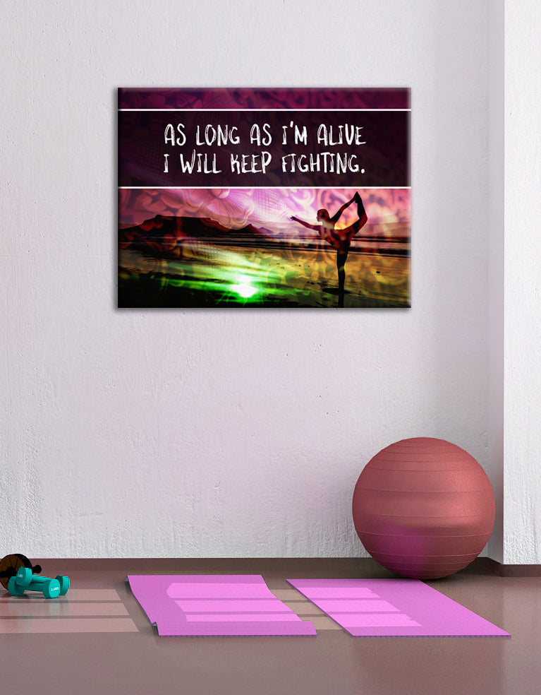 Fitness Wall Art: Keep Fighting (Wood Frame Ready To Hang)