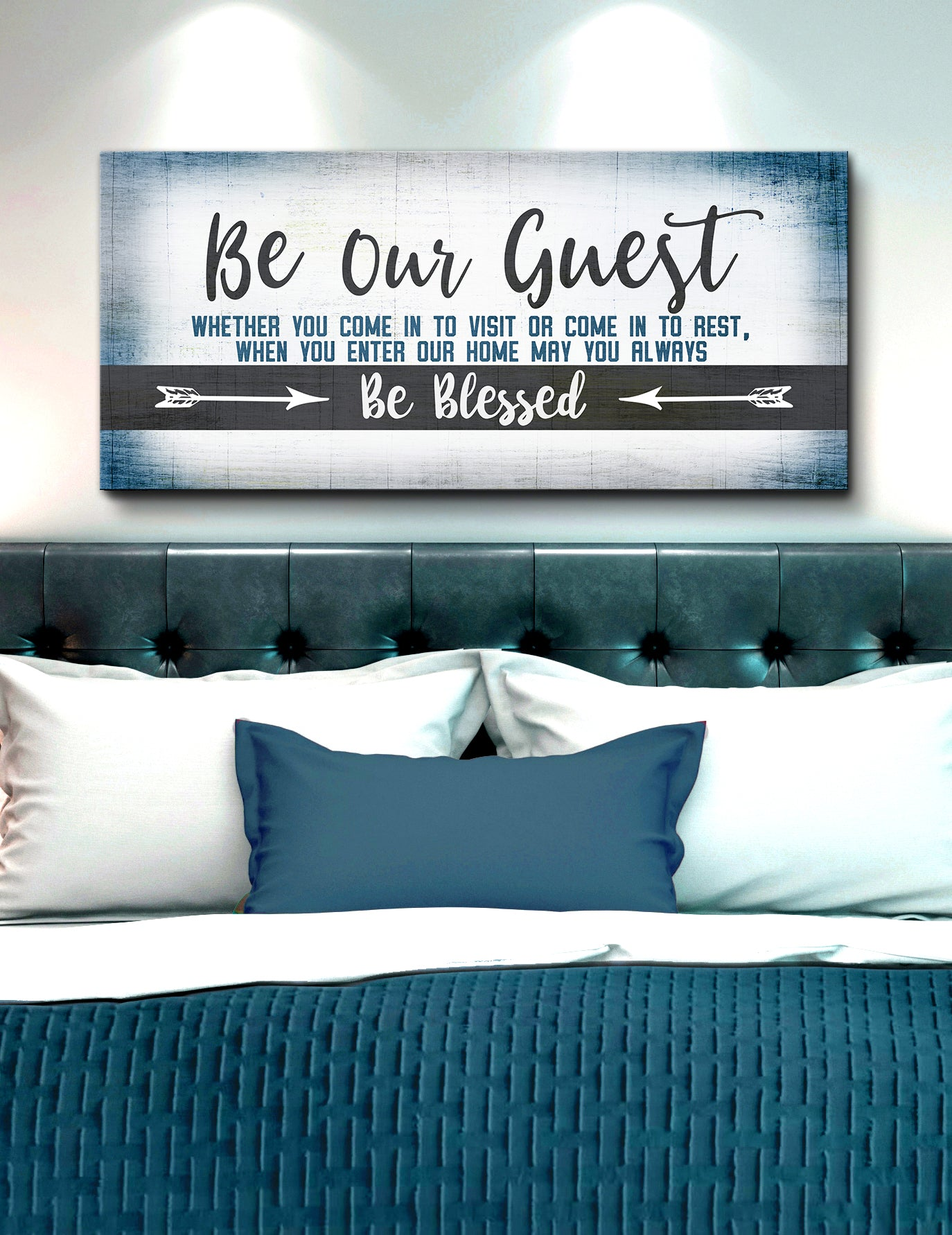 Bedroom Wall Art: Be Our Guest Be Blessed V2 (Wood Frame Ready To Hang)