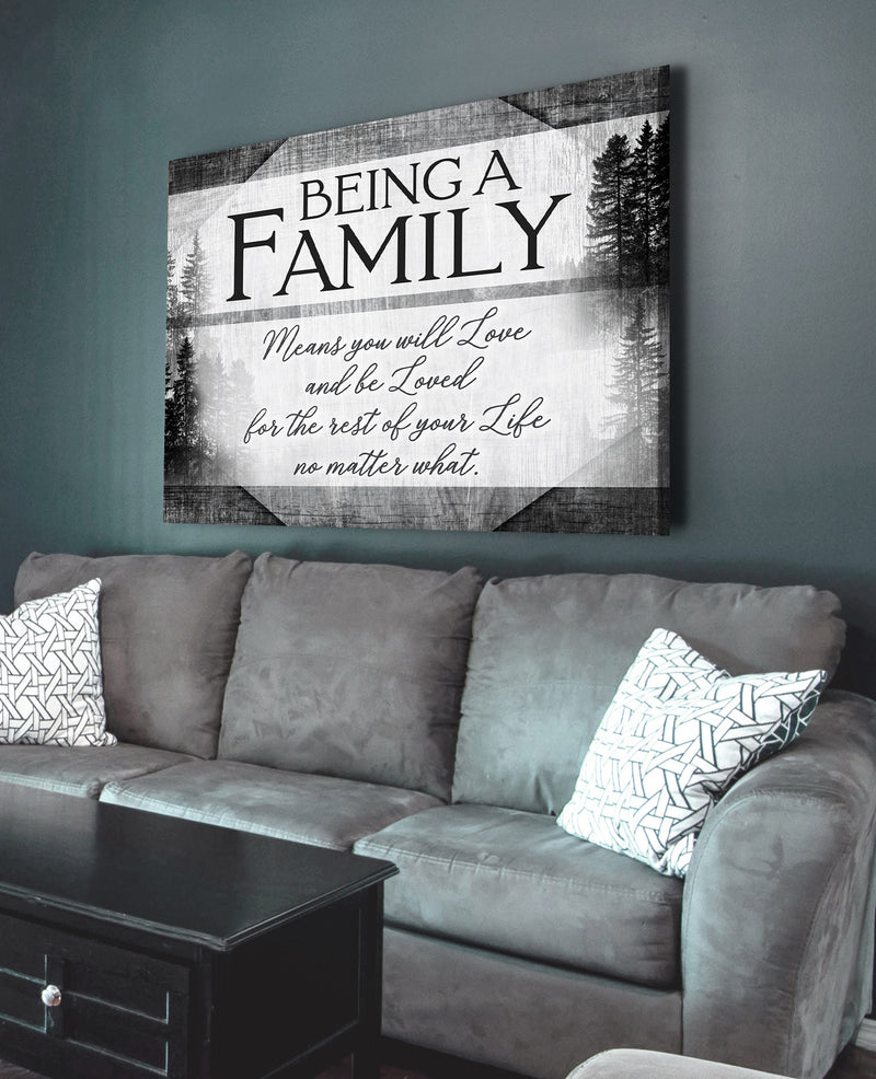 Family Wall Art: Being A Family Means V3 (Wood Frame Ready To Hang)