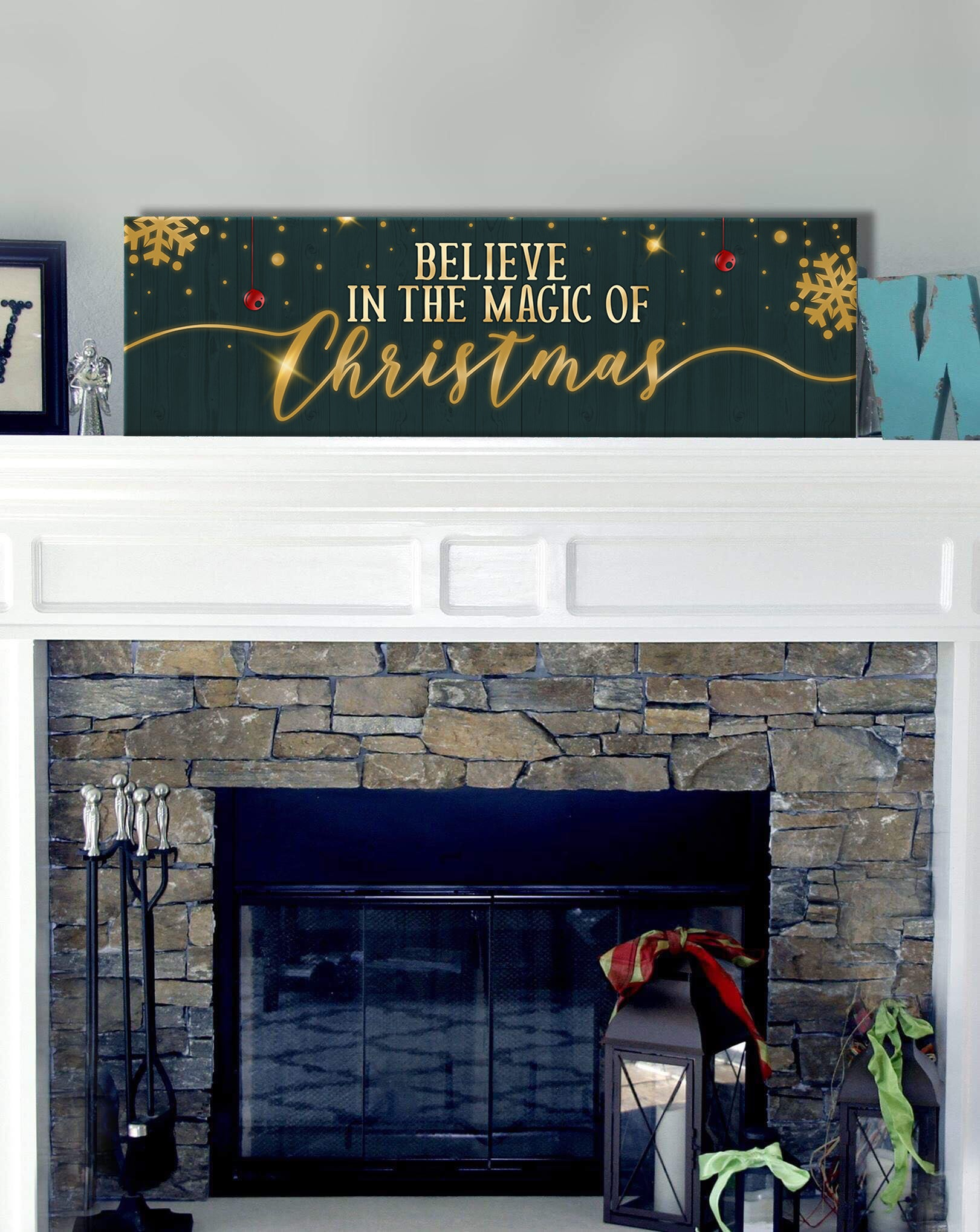 Holiday Decor Wall Art: Believe In The Magic Of Christmas (Wood Frame Ready To Hang)