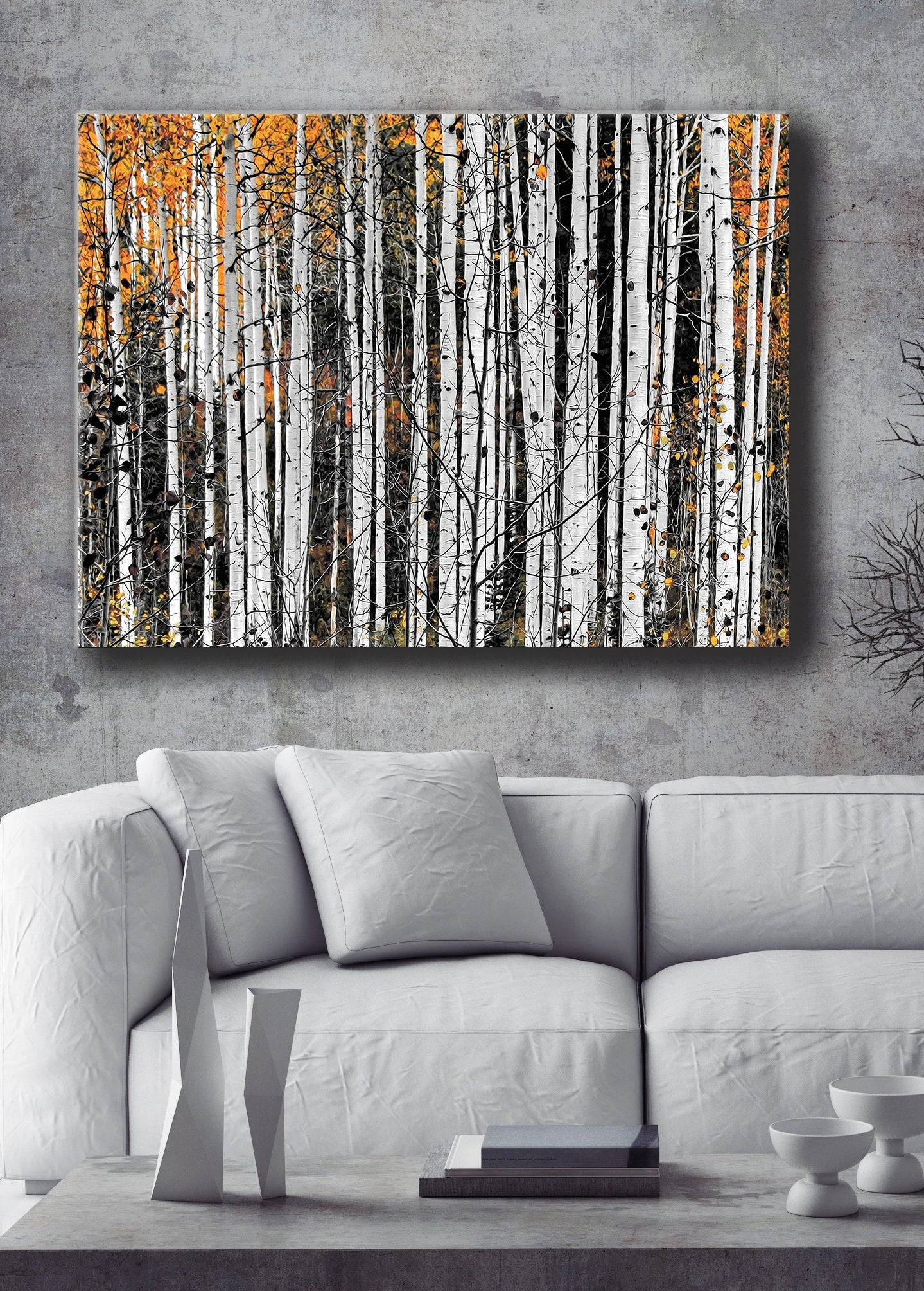 Nature Wall Art: Birch Trees  (Wood Frame Ready To Hang)