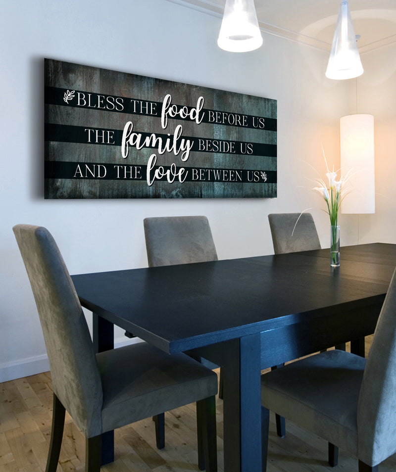 Christian Wall Art: Bless The Food V8 (Wood Frame Ready To Hang)