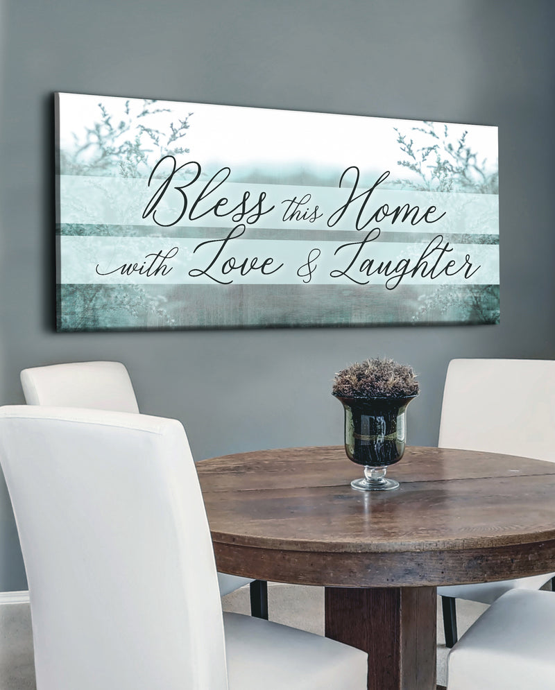 Home Wall Art: Bless This Home With Love And Laughter V4 (Wood Frame Ready To Hang)