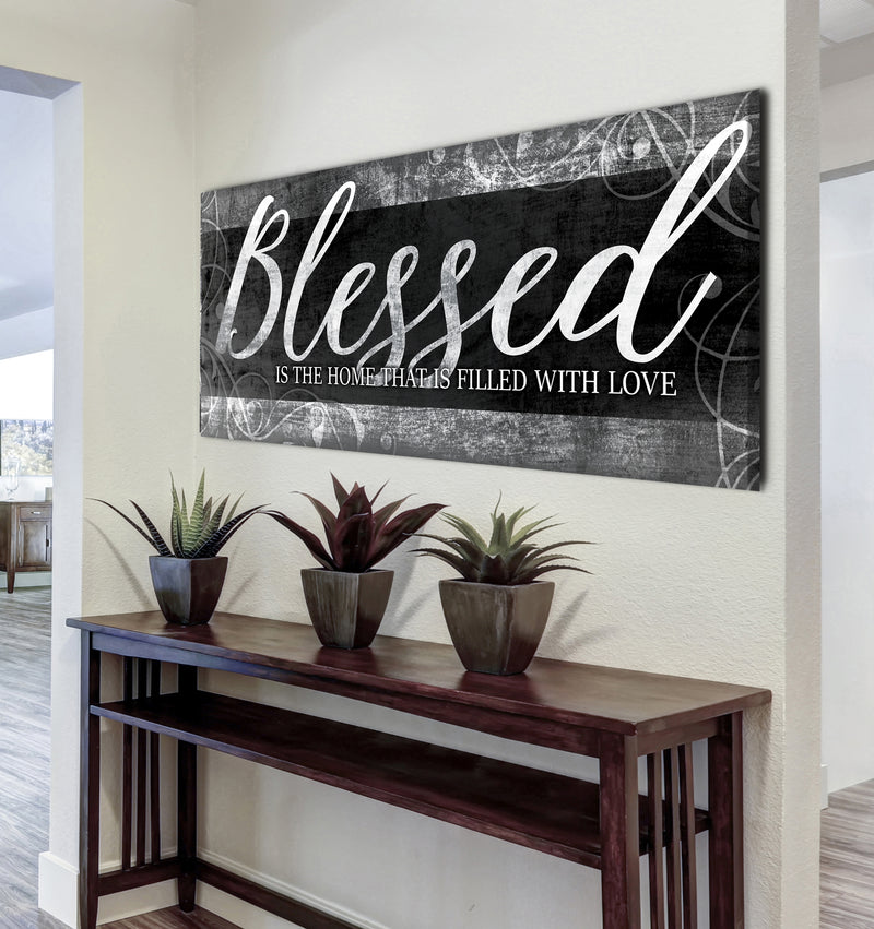 Christian Wall Art: Blessed Is The Home (Wood Frame Ready To Hang)