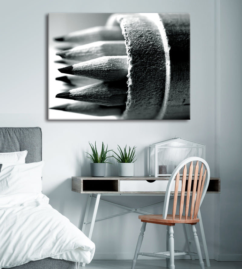Black & White Wall Art :  Black/White Pencils (Wood Frame Ready To Hang)