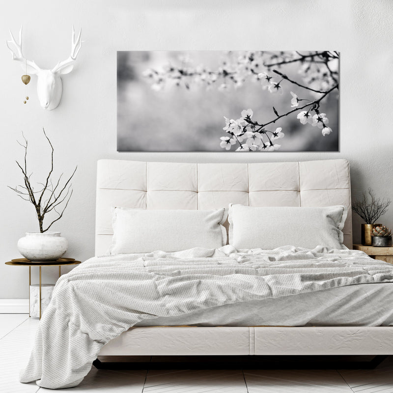 Black & White Wall Art: Black/White Tree Flowers (Wood Frame Ready To Hang)