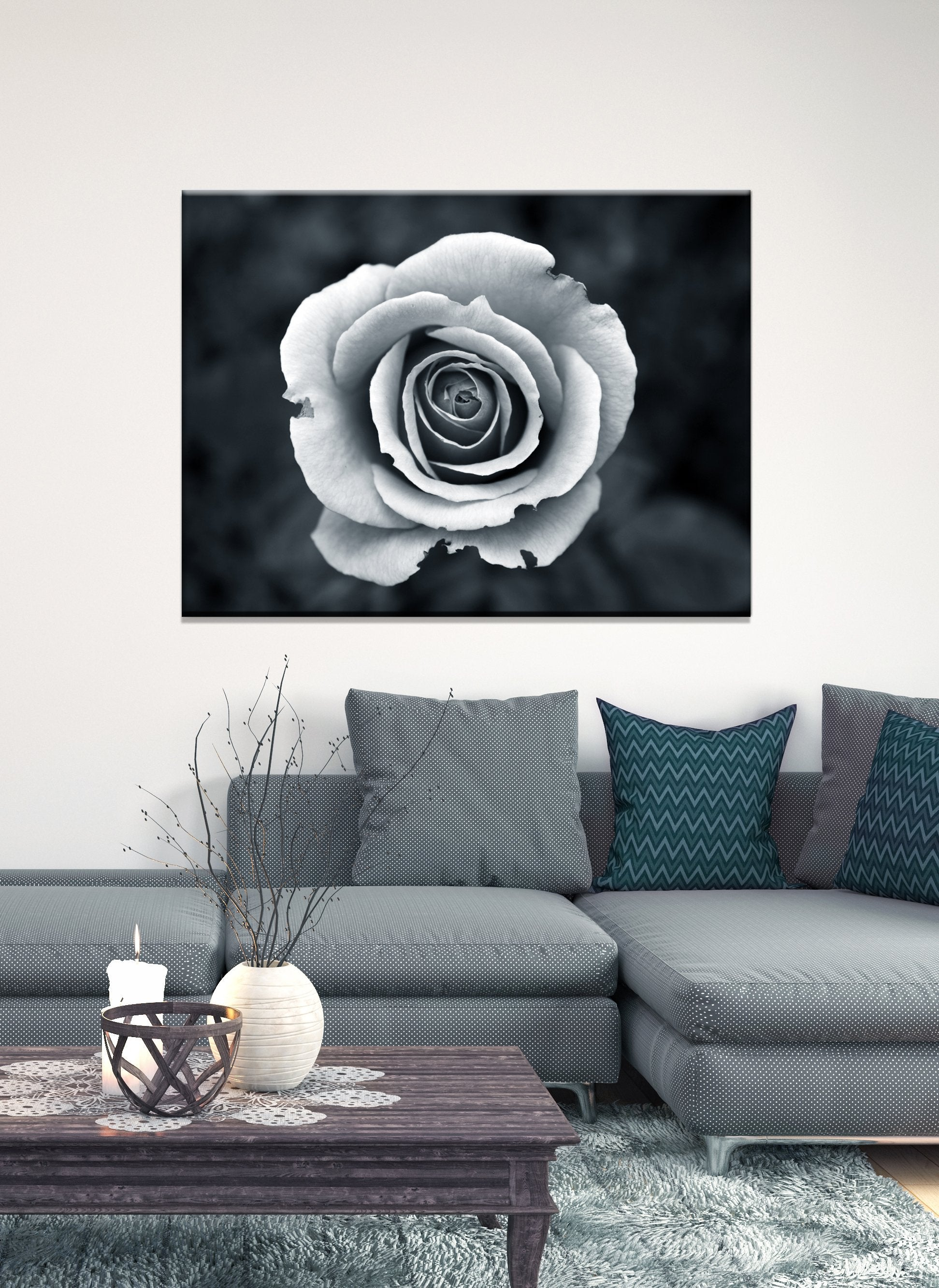 Black & White Wall Art :  Black/White White Rose (Wood Frame Ready To Hang)