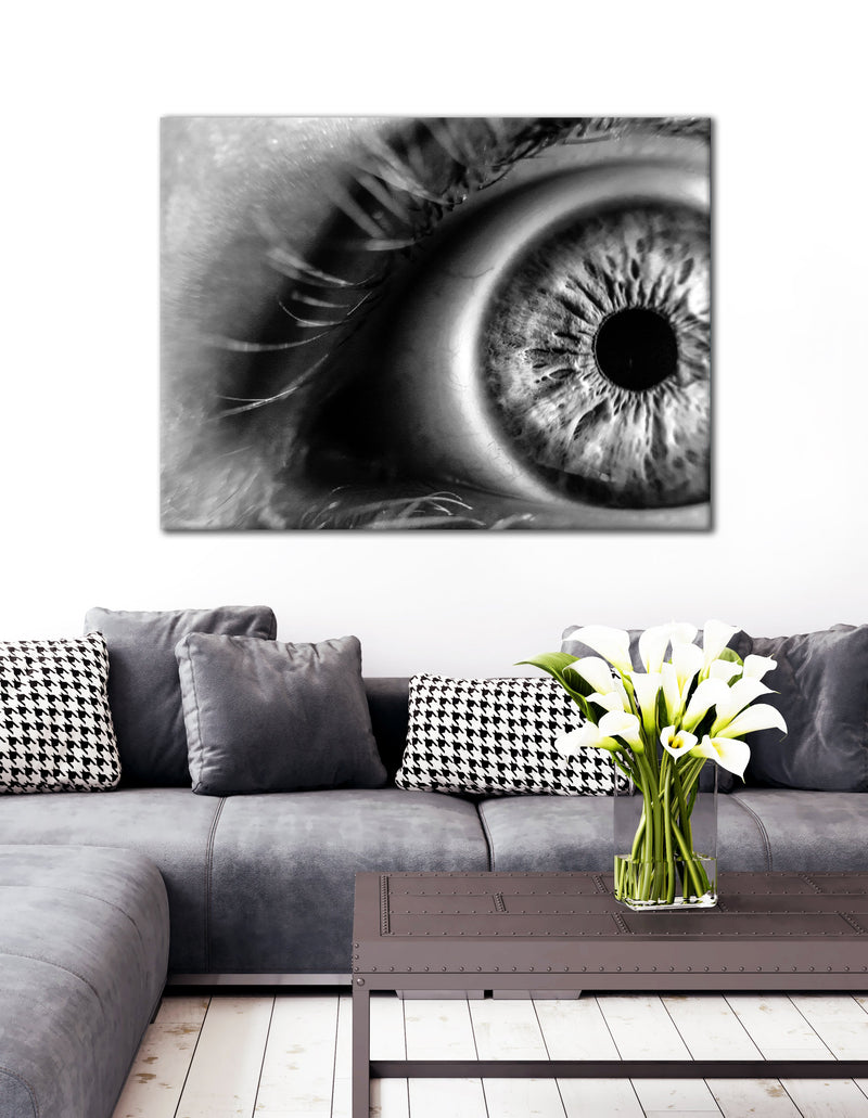 Black & White Wall Art :  Black/White Eye (Wood Frame Ready To Hang)