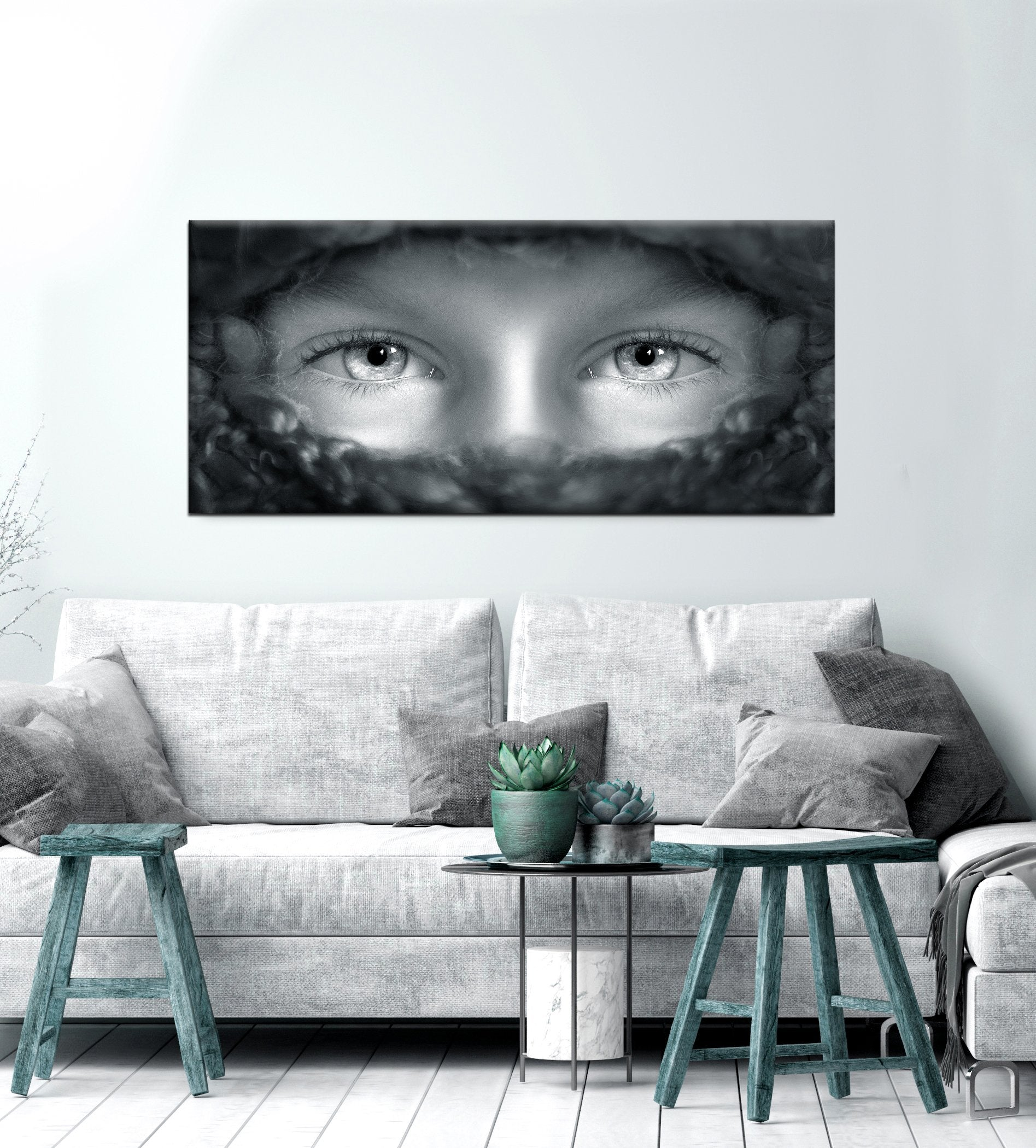 Black & White Wall Art: Black/White Eyes (Wood Frame Ready To Hang)