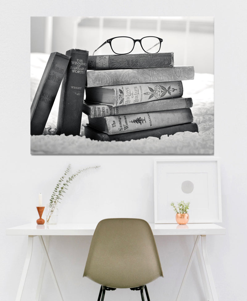 Black & White Wall Art :  Black/White Books (Wood Frame Ready To Hang)