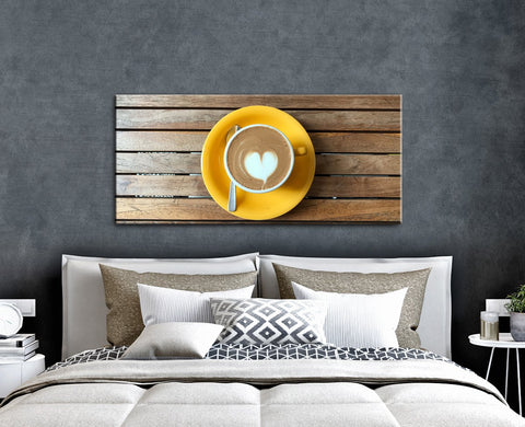 Coffee Wall Art: Yellow Plate White Heart Swirl Coffee (Wood Frame Ready To Hang)