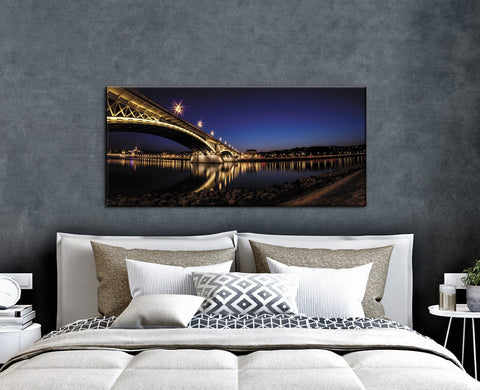 City Wall Art: Nightlight Bridge (Wood Frame Ready To Hang)