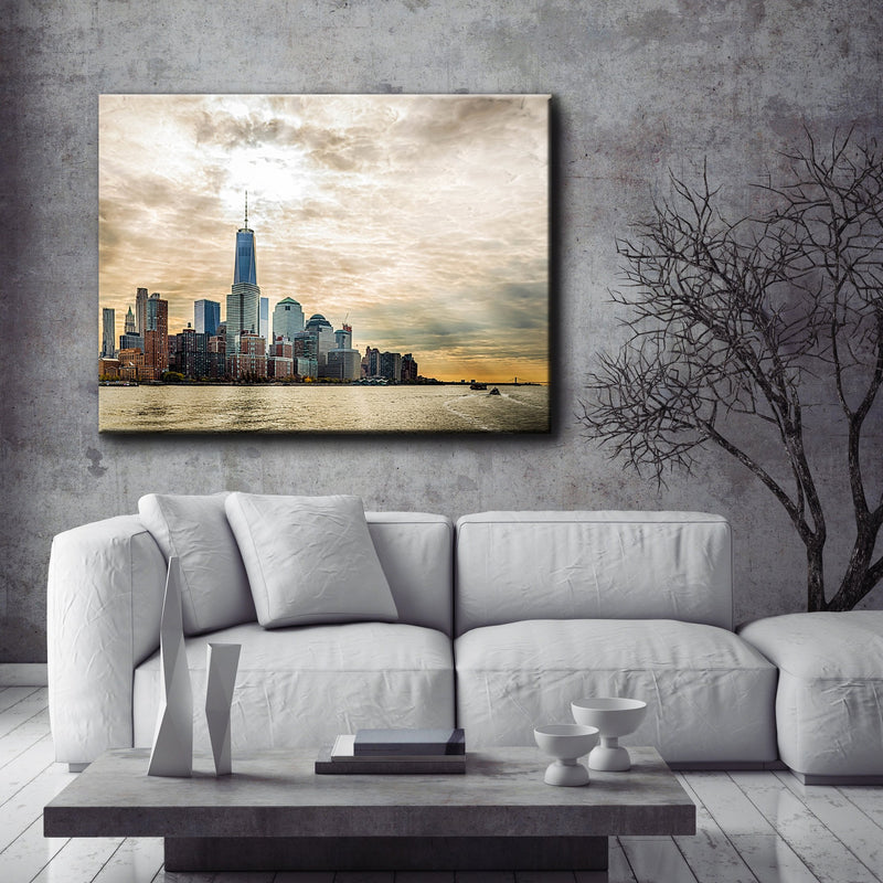 City Wall Art:  City Lake (Wood Frame Ready To Hang)