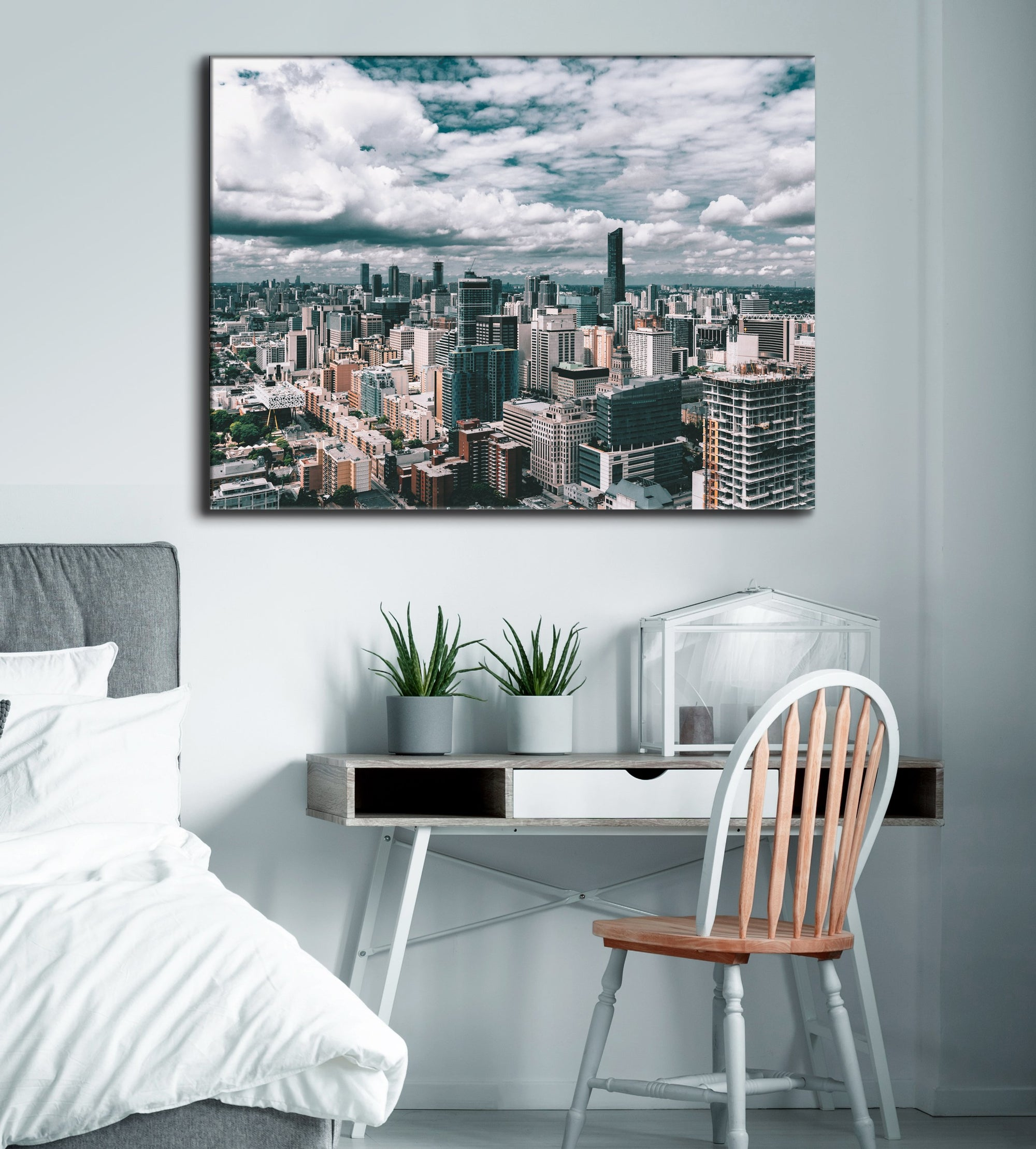 City Wall Art:  Cloudy City (Wood Frame Ready To Hang)