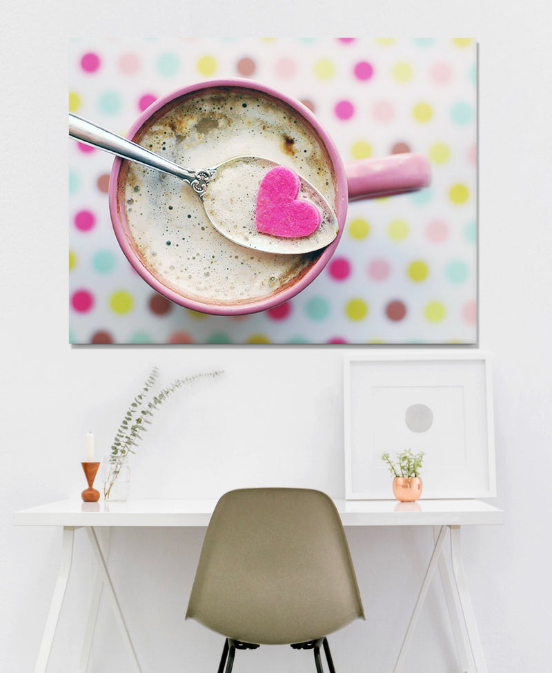 Coffee Wall Art: Pink Mug Filled With Coffee (Wood Frame Ready To Hang)