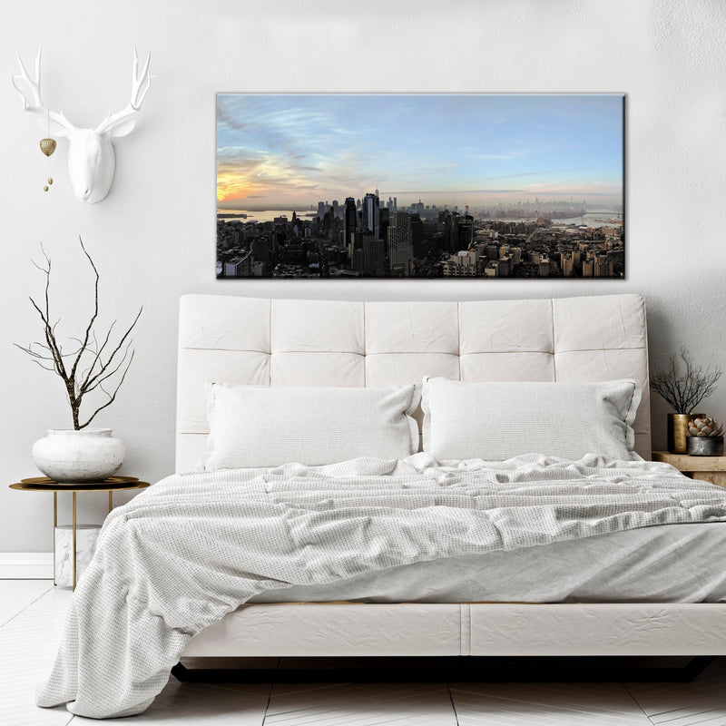 City Wall Art: Sunrise City  (Wood Frame Ready To Hang)