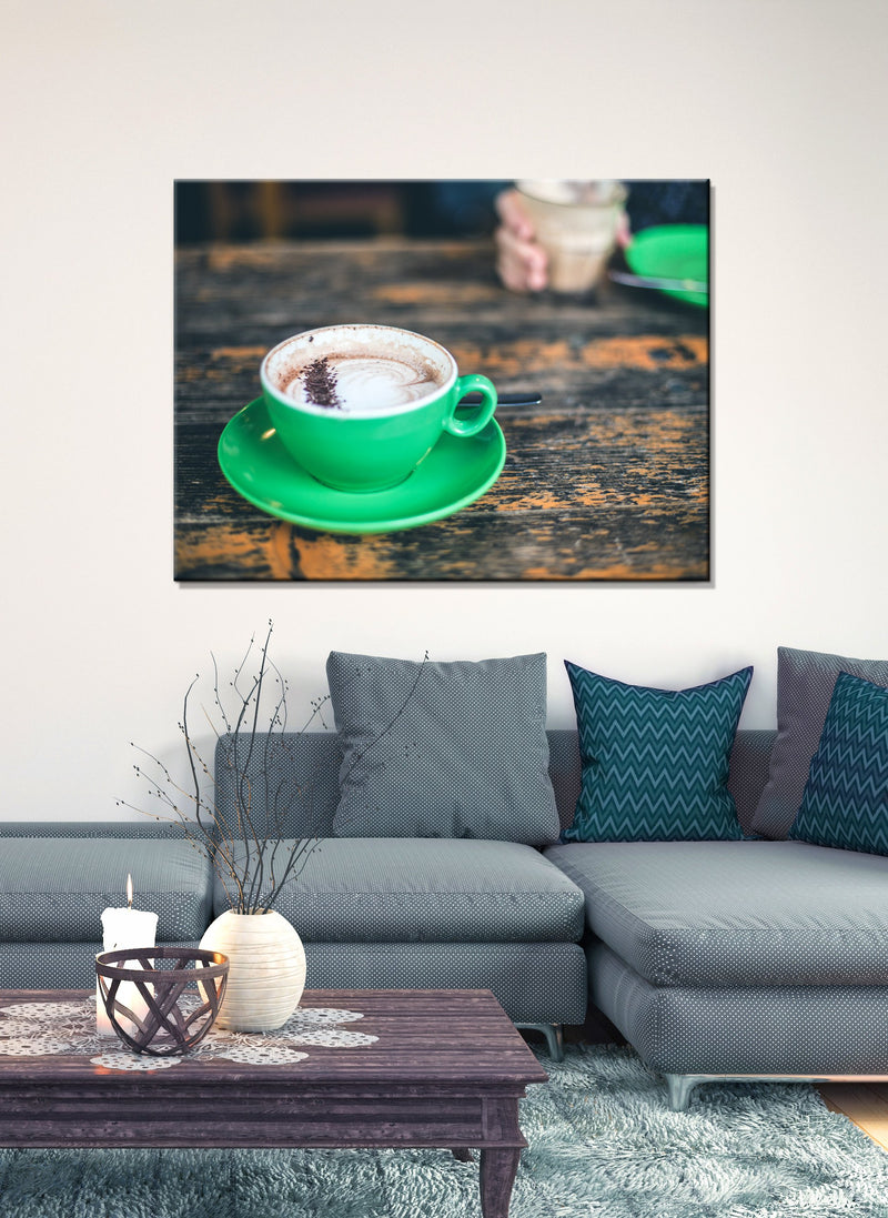 Coffee Wall Art: Green Ceramic Mug With Cappuccino (Wood Frame Ready To Hang)