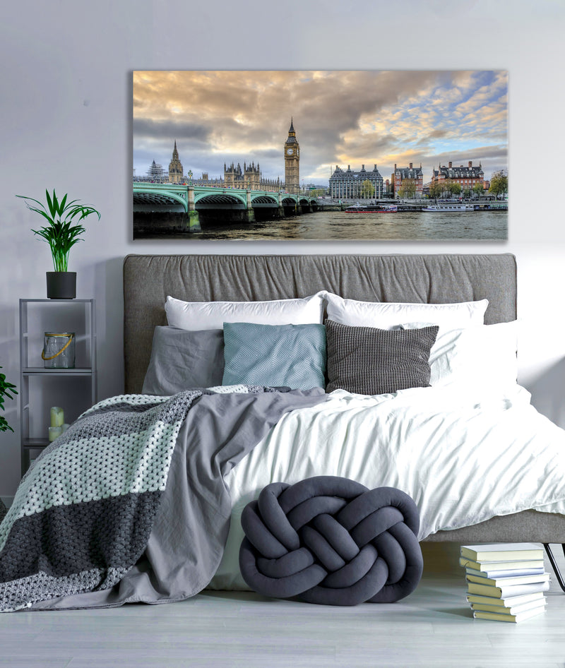 City Wall Art: Bridge Skyline Morning (Wood Frame Ready To Hang)